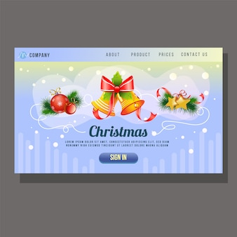 Christmas landing page bell decoration website