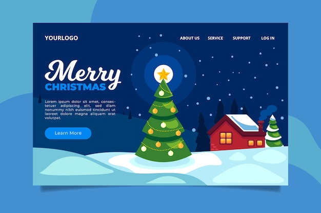 Christmas landing page in flat design