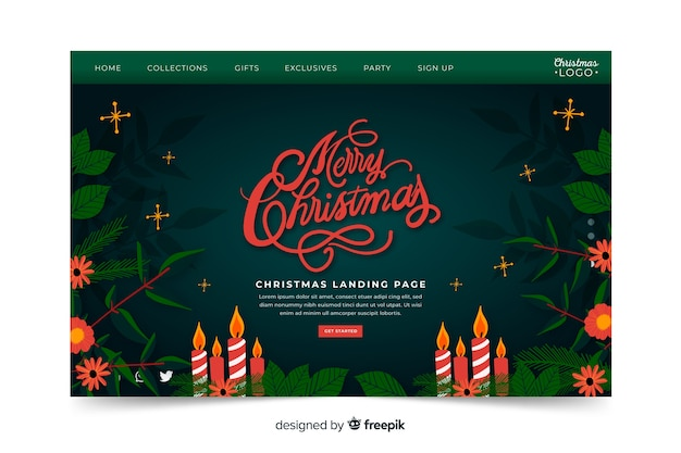Christmas landing page hand drawn style