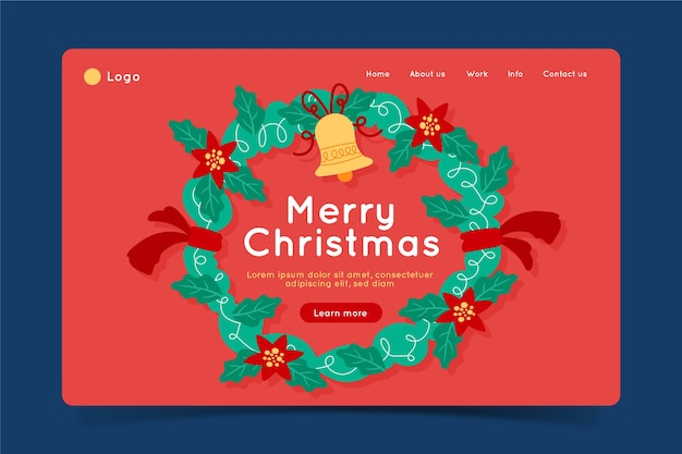 Christmas landing page in hand drawn style