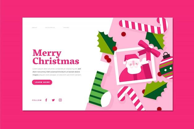 フラットなデザインのクリスマスのランディングページ