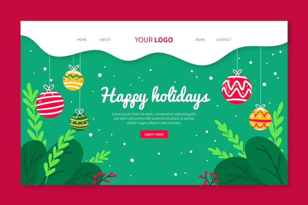 Christmas landing page template hand drawn