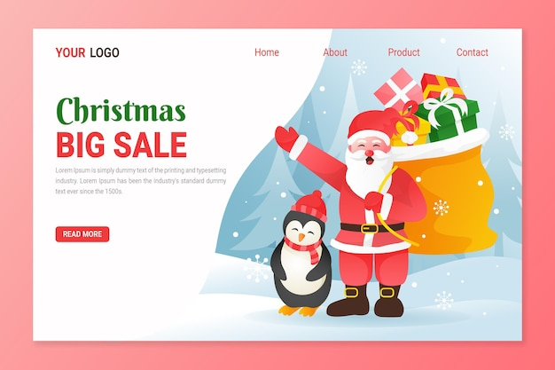 Christmas landing page template for sales