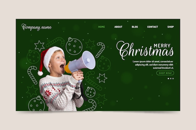 Christmas landing page template with kid