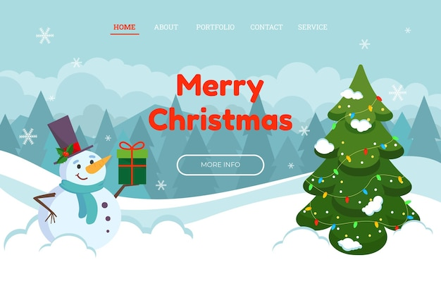 帽子とギフトに優しい雪だるまが付いたクリスマスのランディングページテンプレート。ベクトルイラスト。