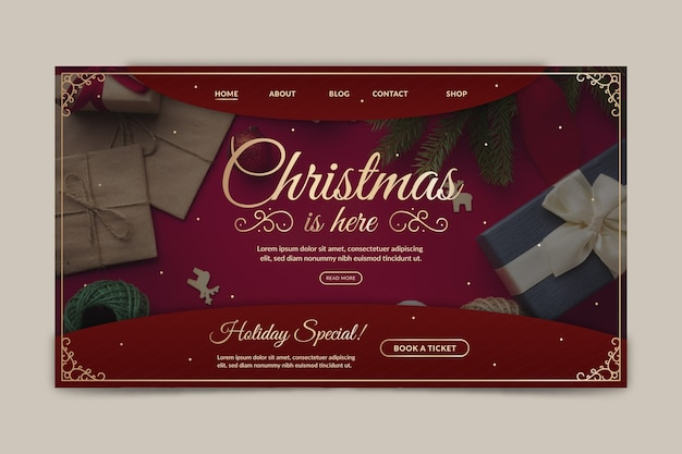Christmas landing page template with photo