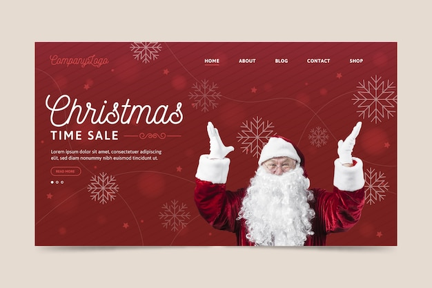 Christmas landing page template with santa claus