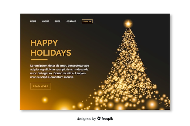 Christmas landing page with beautiful tree