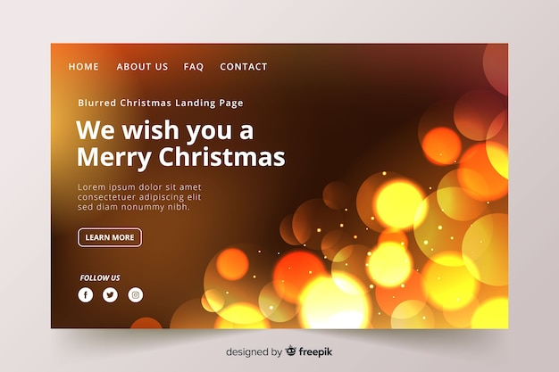 Christmas landing page with blurred image