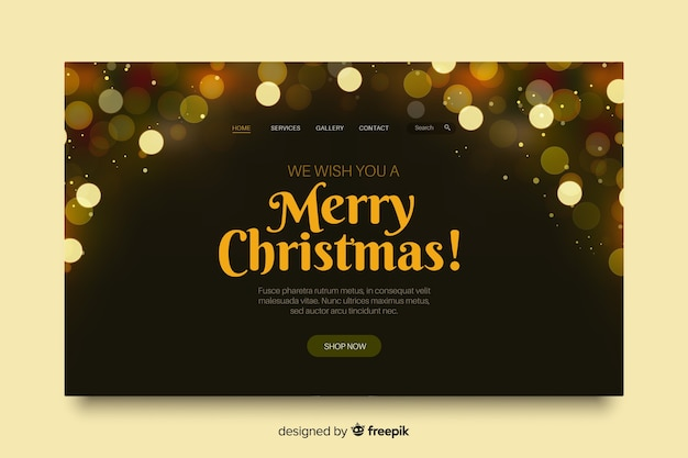 Christmas landing page with bokeh effect