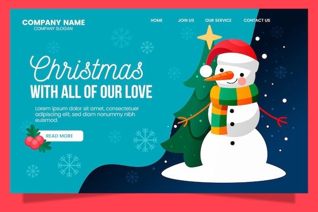 Christmas landing page with cute snowman illustrated