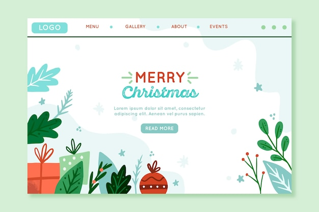 Christmas landing page with elements illustrated