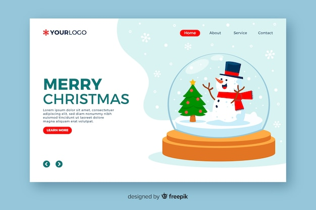 Christmas landing page with globe in flat design