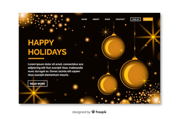 Christmas landing page with golden ornaments