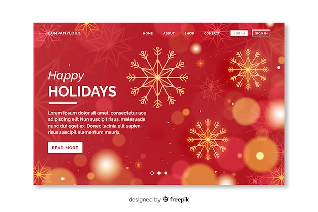 Christmas landing page with ornaments