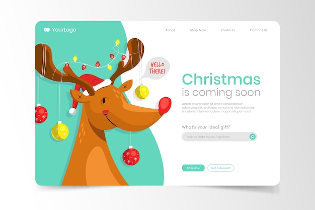 Christmas landing page with reindeer