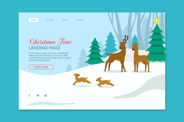 Christmas landing page with reindeers