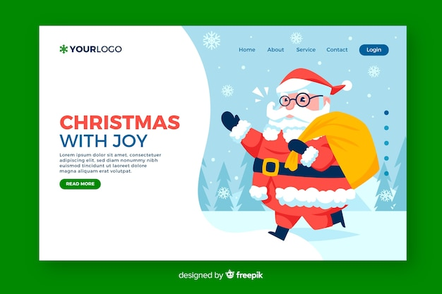Christmas landing page with santa claus in flat design