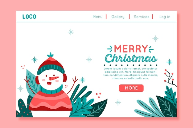 Christmas landing page with snowman illustrated