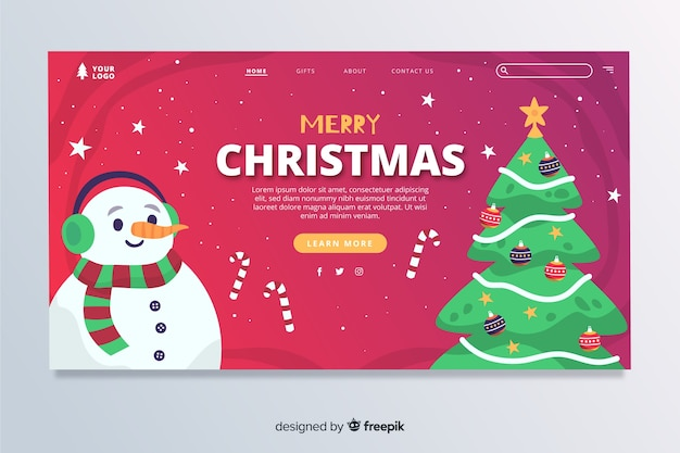 Christmas landing page with snowman