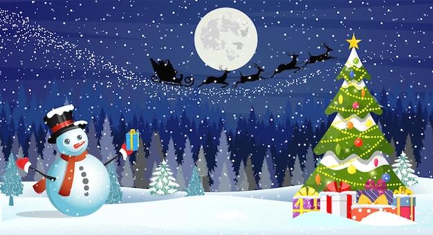 Рождественский пейзаж ночью
