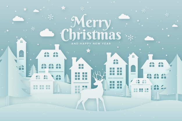 Christmas landscape background in paper style