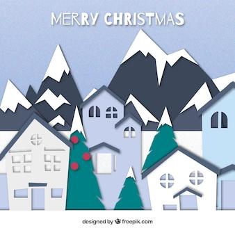 평면 디자인에 산들과 크리스마스 풍경 배경