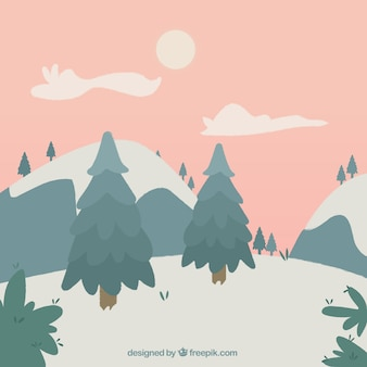 Christmas landscape background with pines and snow