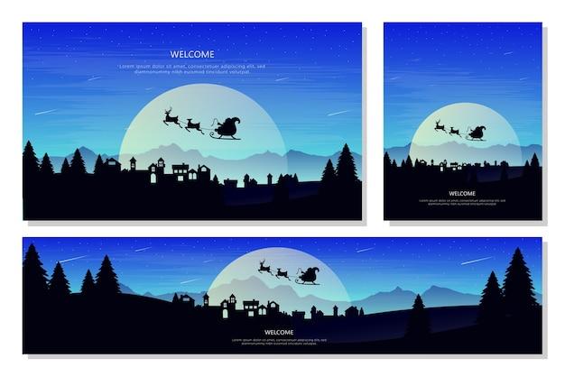 Christmas landscape banner set