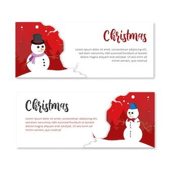 Christmas landscape banner snowman