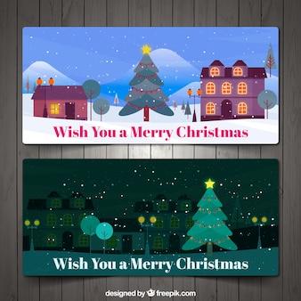 Рождественский пейзаж баннеры в плоской конструкции