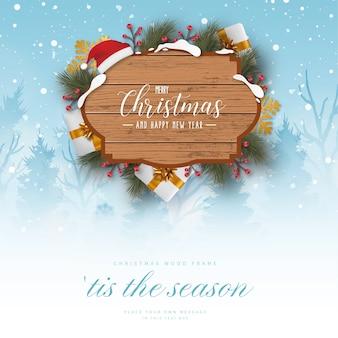 Biglietto con paesaggio natalizio con decorazioni natalizie realistiche