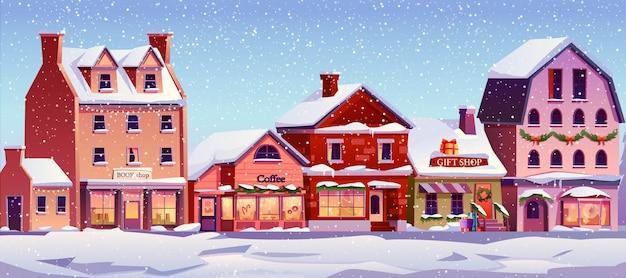 Рождественский пейзаж улица с украшенными домами в дневное время снегопад снежная погода вектор рождественский дом