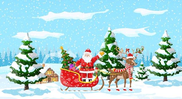 Christmas landscape tree santa sleigh reindeers