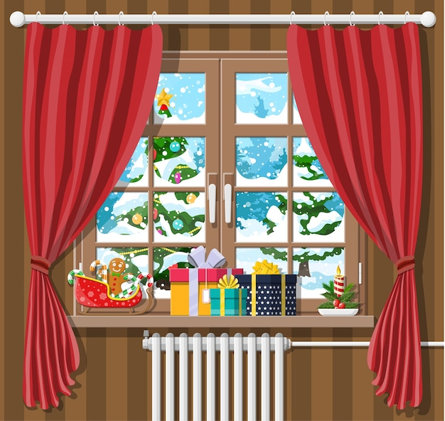 Christmas landscape with forest in window. interior of room with gifts. merry christmas scene