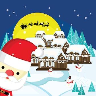 Рождественский пейзаж с дедом морозом и снеговиком с луной и силуэтом летящего деда мороза