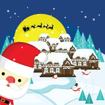 Christmas landscape with santa claus and snowman with moon and the silhouette of santa claus flying