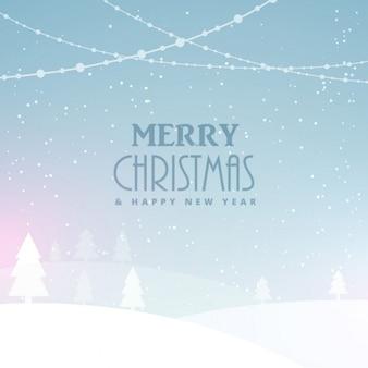Счастливого рождества фон праздник со снегом и деревьями