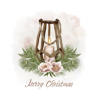 Christmas lantern with pine and flowers