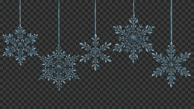 透明な背景に水色のクリスマス大規模な複雑な半透明のぶら下がっている雪片。ベクトル形式のみの透明度