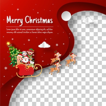 Christmas layer postcard of santa claus and friends on a sleigh with transparent background