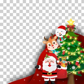 Christmas layer postcard of santa claus and friends with christmas tree on transparent background