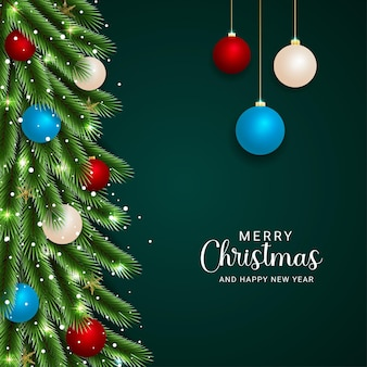 빨간색 흰색 하늘색 공 및 조명이 있는 크리스마스 잎 황금 눈송이