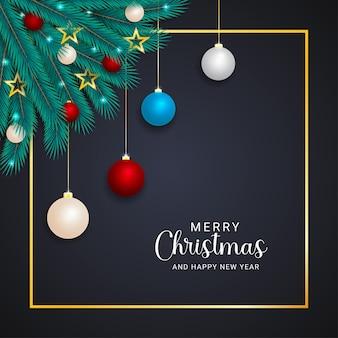 빨간색 흰색 하늘색 공 및 조명 황금 테두리가 있는 크리스마스 잎 황금 별