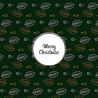 Christmas leaf seamless pattern