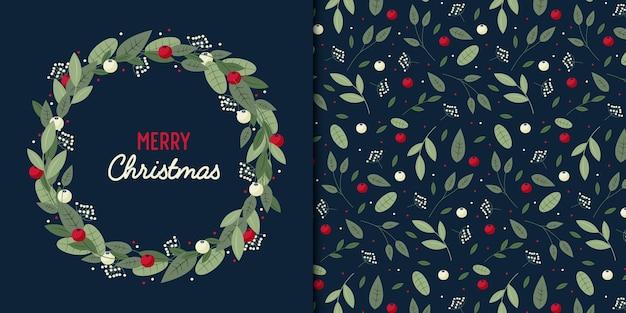 크리스마스 잎과 열매 평면 스타일 화 환 및 원활한 패턴