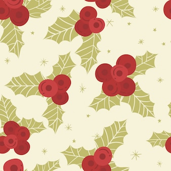 Christmas leaves background pattern