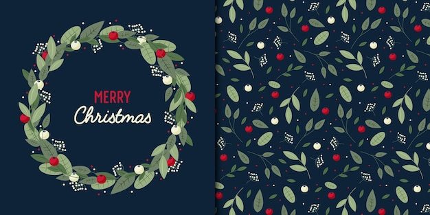 Christmas leaves and berries flat style wreath and seamless pattern