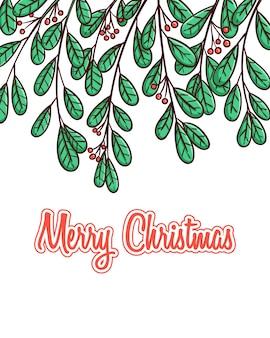 Рождественские листья лучше всего для баннера или плаката с рисованной стилем