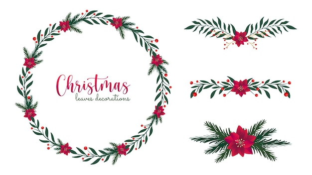 Christmas leaves decorations with pine and poinsettia flowers